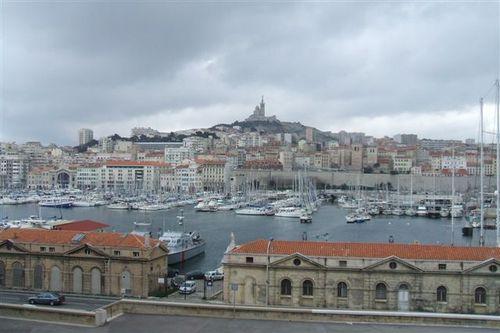 Marseille - view of marina and Notre Dame de la Garde