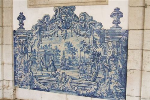 Tile work on wall inside St Vincente